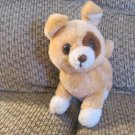 Vintage Russ Berrie #551 Jonny Tan White Nutshell Puppy Dog Lovey Plush 11""
