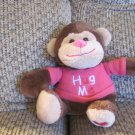 Walmart Stores Inc Hot Pink Hug Me Heart Brown Tan Monkey Plush Lovey 8""