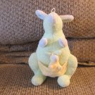 "Koala Baby #151294N3 Mother And Baby Kangaroo Green Blue Yellow Vibrating Lovey Plush 8"""