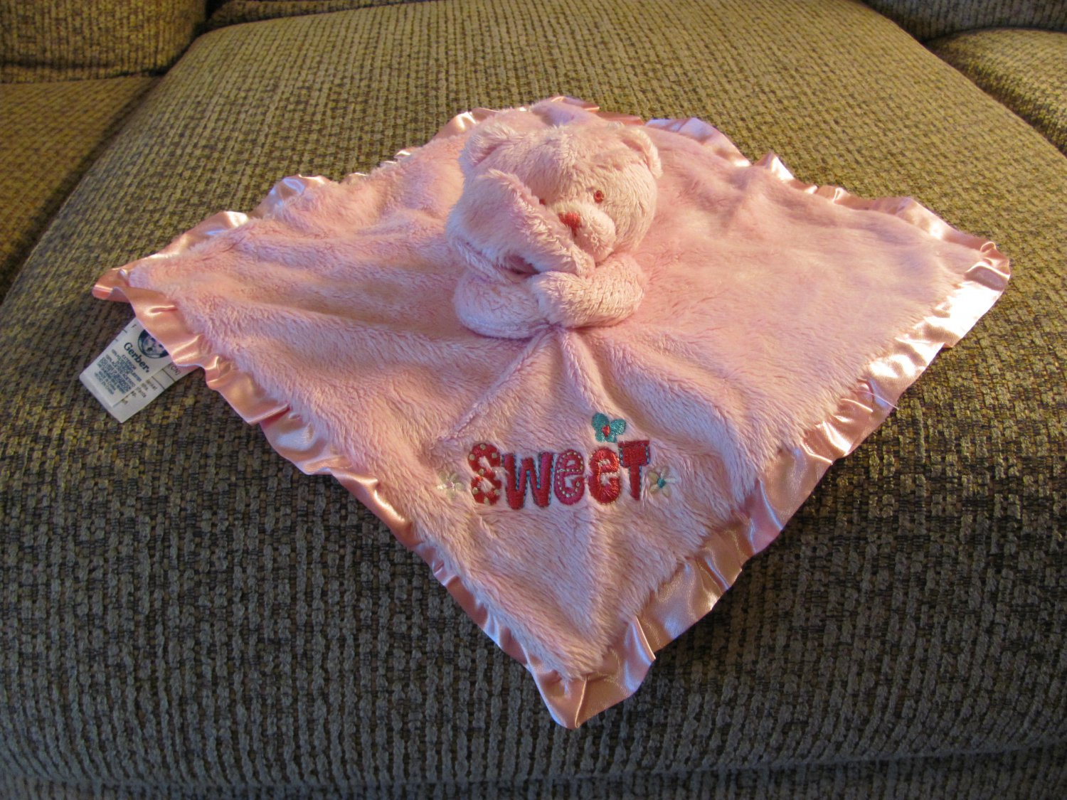 3a801c42f7aae Gerber Pink Hot Pink Sweet Butterfly Flowers Teddy Bear Security Blanket  Lovey Plush 11x11