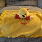 """Disney Gold Yellow Red Winnie The Pooh Rattle Lovey Security Blanket 12x13"""""""