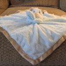 """Carters One Size Light Blue Tan Gold Puppy Dog Lovey Rattles Security Blanket 15x15"""""""
