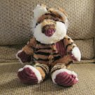 Pier 1 Imports Tan Black Striped Cream Purple Corduroy Tiger Lovey Plush 14""