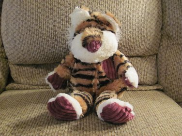 "Pier 1 Imports Tan Black Striped Cream Purple Corduroy Tiger Lovey Plush 14"""