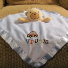 Circo Target Vroom Car Brown Tan Teddy Bear Blue Security Blanket Lovey 13x14""