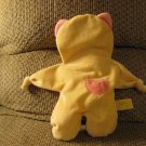 Moncalin France Yellow Pink Heart Kitty Cat Knotted Hands Security Blanket Lovey Plush 13""