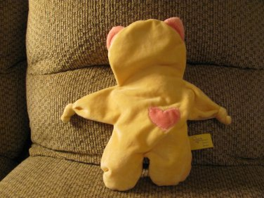 """Moncalin France Yellow Pink Heart Kitty Cat Knotted Hands Security Blanket Lovey Plush 13"""""""