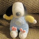 Prestige My First Snoopy Pastel Thermal Bunny Slippers Rattle Lovey Plush 9""