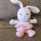 Prestige Baby #37154 Pink Ballerina Skirt Shoes White Bunny Rabbit Rattle Plush 8""