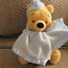 "Disney Winnie The Pooh Gund #80531 Blue Waffle PJS Nightcap Blanket Lovey Plush 8"""