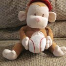 2008 Luv N Care Nuby Baseball Brown Cream Singing Monkey Lovey Plush 8""