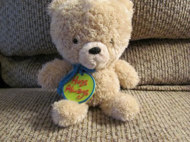 Hallmark Cards Inc. Hugs Always Blue Cord Necklace Tan Teddy Bear Plush 9""