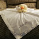 """Carters One Size I Love You Yellow White Orange Duck Duckling Security Blanket Lovey Plush 15 x14"""""""
