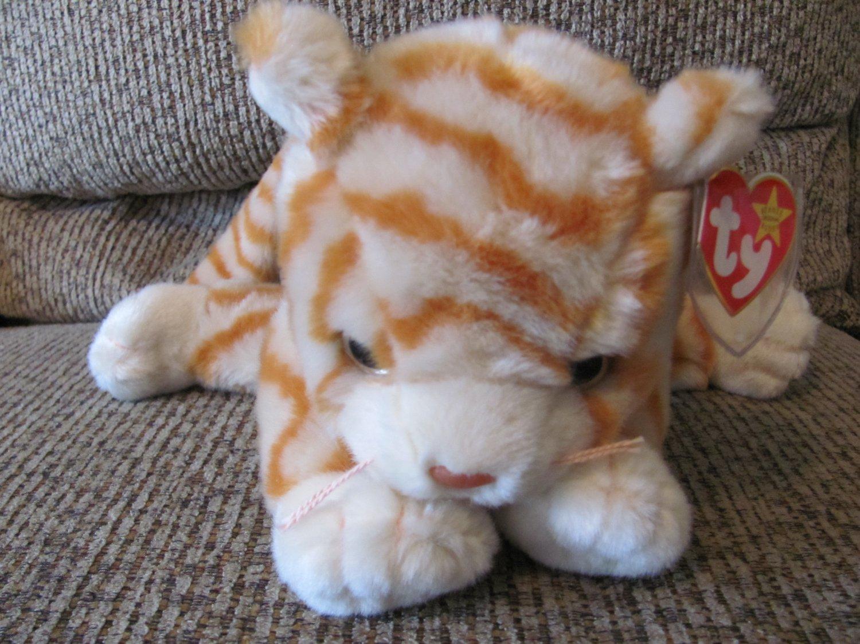 WMT 1999 Retired Ty Beanie Buddy Amber Tan Off White Orange Striped Lovey  Kitty Cat Plush 20