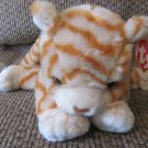 WMT 1999 Retired Ty Beanie Buddy Amber Tan Off White Orange Striped Lovey Kitty Cat Plush 20""