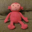 2012 Animal Adventure Hot Pink Pink Faced Monkey Lovey Plush 11""