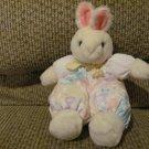 "1991 Vintage Dakin Cloth Pastel  Flower Jumper Suspenders Bunny Rabbit Lovey Plush 9"""