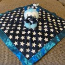 Old Navy White Stars Navy Blue Satin Monster Bear Security Blanket Lovey 14x14""