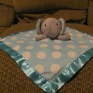 Circo Target Gray Elephant White Polka Dots Blue Turqious Security Blanket Lovey Plush 13x13""