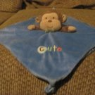 Small Wonders Brown Monkey Cute Blue Fleece Knotted Corners Rattle Security Blanket Lovey 12x12""
