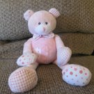 Baby Ganz Pink Fleece Cloth Gingham Polka Dot Crinkle Squeek Rattles Teddy Bear Plush