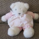Vintage 1980's Prestige Toy Pink Floral White Lace Teddy Bear Plush 12""
