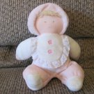 Eden 4 D/H  Doll Blonde Pink Cream Footy Pjs Flower Bib Rattles Lovey Plush 10""