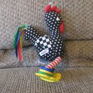 Vintage Eden Polka Dot Black Chicken Checkered Ribbon Rings Crinkle Squeaker Rooster Plush 9""