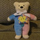 Vintage WT North American Bear Co Happyface Squeeker Pastel Yellow Teddy Bear Lovey Plush 9""