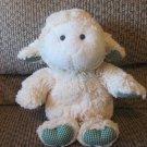 "Animal Adventure Soft White Wooly Lamb White Green Gingham Ears Feet Lovey Plush 12"""