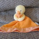 "Prestige Baby Orange Gingham Skirted Lovey Yellow Duck Security Blanket 9"""