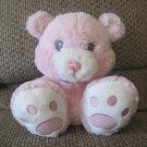 "Aurora Baby Aurora World Inc Girl Pink White Big Footpads Teddy Bear Lovey Plush 9"""