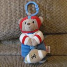 Carters Little Rookie Teddy Bear Football Player Crib Hanger Vibrating Pull String Lovey Plush 8""
