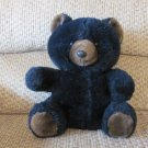 Vintage 1992 Smile International Sitting Black Brown Bear Glass Eyes Plastic Nose Teddy Plush 10""
