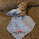 Carters Child Of Mine I Love Mommy Puppy Dog Rattles Blue Minky Security Blanket Lovey Plush 7""