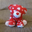 2011 Ty Pluffies Dreamly White Hearts Red Tylux Bear Lovey Plush 11""