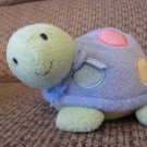 Carters #6942 Green Pink Yellow Polka Dot Rattles Jingle Turtle Lovey Plush 7""