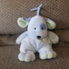 """Carters Just One Year Blue Green Puppy Dog Polka Dot Crib Pull Toy Musical Plush 12"""""""