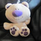 CCA Occasions Ltd Mowbray Bean Bag Belly Tan Purple Teddy Bear Lovey Plush 8""