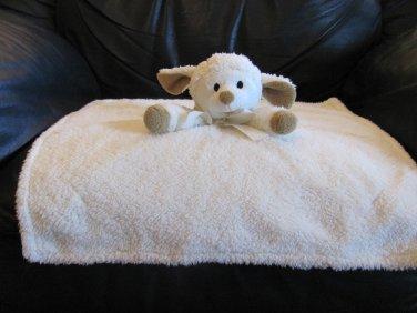 "Piccolo Bambino Cream Tan Black Eyes Lamb Ewe Security Blanket Lovey Plush 17x17"""