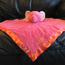 Carters One Size I Love You Hot Pink Orange Polka Dot Elephant Rattles Lovey Security Blanket 16x16""
