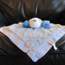 Baby Ganz Blue White Checkered Puppy Love Puppy Dog  Fleece Cloth Security Blanket Lovey 13x13""