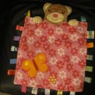 Taggies Kids II AM1013 Pink Hot Pink Flowers Orange Butterfly Tan Teddy Bear Lovey Security Blanket