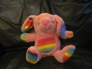 "NWT 2016 Animal Adventure Rainbow Pink Payton Bunny Rabbit Lovey Plush 12"""