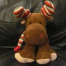 2006 Ty Pluffies Merry Moose Christmas Brown Sriped Horns Scarf Lovey Plush 12""