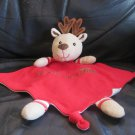 Linmark #201407 Reindeer Blanket My First Christmas Knotted Corners Security Lovey 9x9""