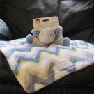 NWT Blankets and Beyond Elephant Blue Gray Yelow Chevron Security Blanket Lovey Plush
