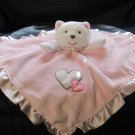 """Carters One Size Two Hearts White Kitty Cat Rattles Pink Security Blanket Lovey 14x15"""""""