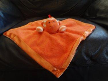 """2012 Manhattan Toy Giggle Baby Orange White Striped Fleece Satin Monkey Security Blanket 10x11"""""""