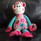 """Douglas Cuddle Toy  Pink Turquoise Ladybug Flower Butterfly Monkey Lovey Plush 14"""""""